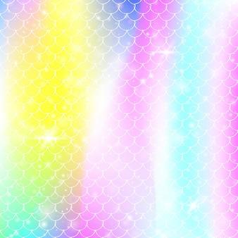 가와이이 인어 공주 패턴으로 무지개 비늘 배경. 마법의 반짝임과 별이 있는 물고기 꼬리 배너. 여자 파티를 위한 바다 환상 초대. 무지개 비늘이 있는 홀로그램 배경.