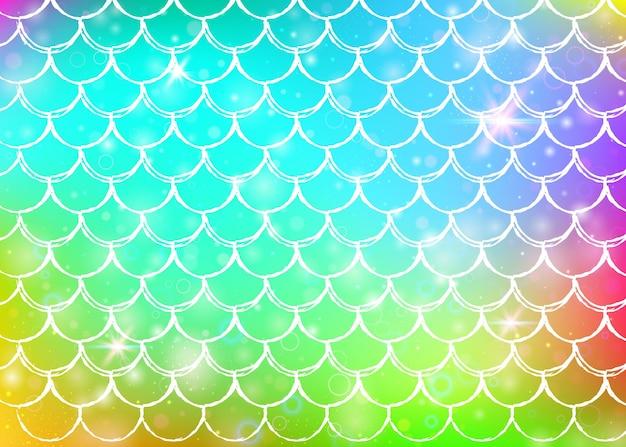 レインボーは、カワイイ人魚姫のパターンで背景をスケーリングします。魔法の輝きと星が付いた魚のしっぽのバナー。ガーリーパーティーの海のファンタジーの招待状。虹のうろこが付いている多色の背景。