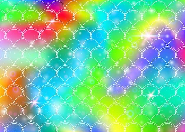 가와이이 인어 공주 패턴으로 무지개 비늘 배경. 마법의 반짝임과 별이 있는 물고기 꼬리 배너. 여자 파티를 위한 바다 환상 초대. 무지개 비늘이 있는 여러 가지 빛깔의 배경.