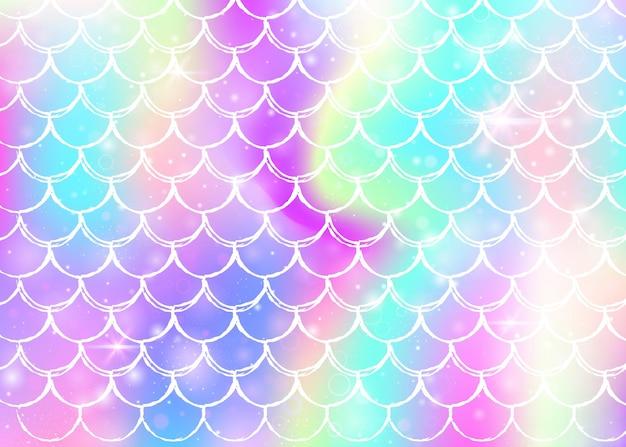 レインボーは、カワイイ人魚姫のパターンで背景をスケーリングします。魔法の輝きと星が付いた魚のしっぽのバナー。ガーリーパーティーの海のファンタジーの招待状。レインボースケールのスタイリッシュな背景。