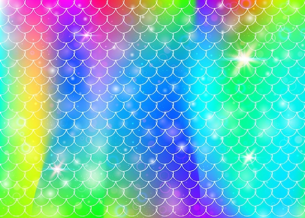 Rainbow scales background with kawaii mermaid princess pattern. fish tail banner with magic sparkles and stars. sea fantasy invitation for girlie party. bright backdrop with rainbow scales.