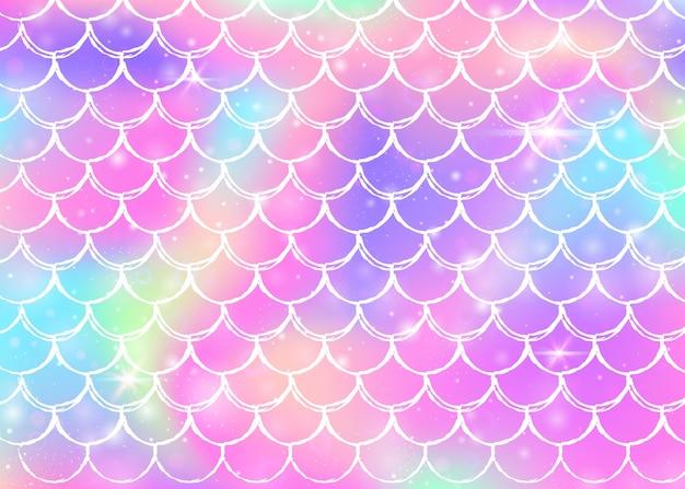Rainbow scales background with kawaii mermaid princess pattern