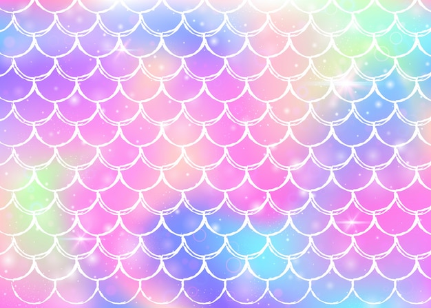 Rainbow scales background with kawaii mermaid princess shapes