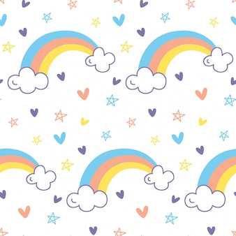 Rainbow seamless pattern in doodle style vector