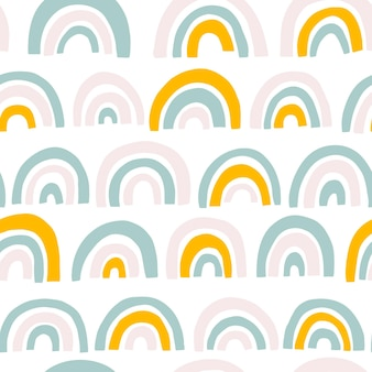 Rainbow seamless pattern in pastel colors.