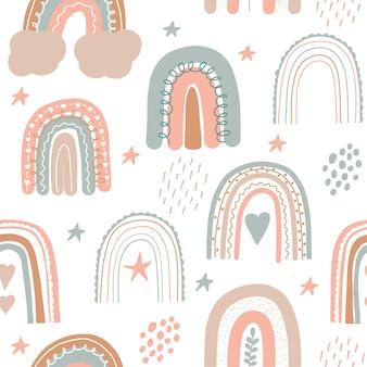 Rainbow seamless pattern scandinavian print for nursery room kids pastel doodle handdrawn
