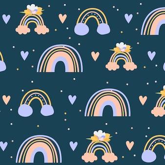 무지개 완벽 한 패턴입니다. 벡터 손으로 그린 무지개는 만화 스칸디나비아 스타일로 종이, 직물, 벽지, 지문, 직물을 포장하는 아이들을 위한 것입니다. 구름, 별, 햇빛, 방울, 심장이 있는 무지개 세트.