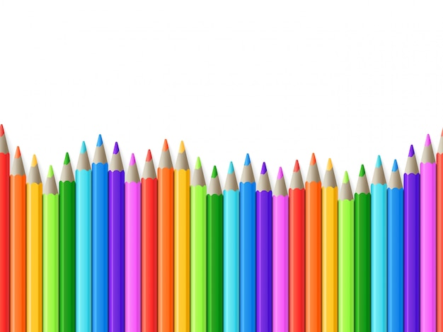 Rainbow seamless row of color drawing pencils vector illustration