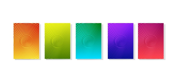 Rainbow set of abstract dynamic modern banners with different texture template cover design
