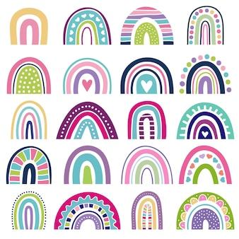 Формы радуги. детские логотипы в скандинавском стиле абстрактные радужные цветные графические минималистские векторные иллюстрации. полоса радуги модные, детские элементы стиля