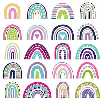 Rainbow shapes. kids logos in scandinavian style abstract rainbow colored graphic minimalist vector illustrations. stripe rainbow trendy, childish style elements