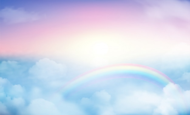 Rainbow on sky background