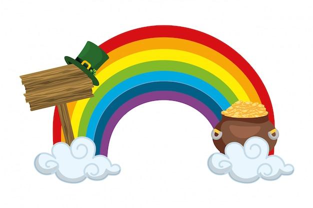 Rainbow sky sign gold pot