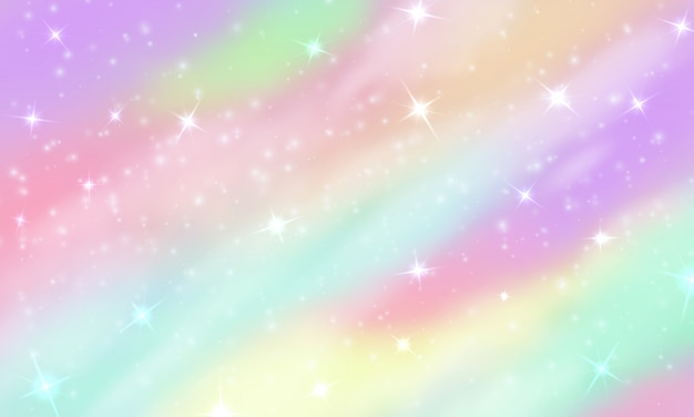 Rainbow sky with glittering stars