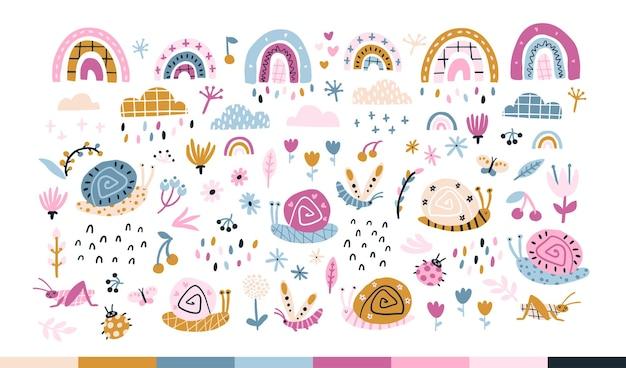 Rainbow snails in the rain Premium Vector
