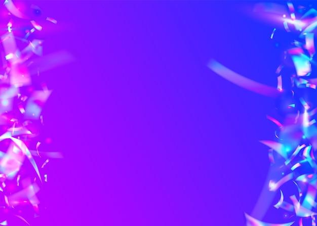 레인보우 반짝임. 레트로 현실적인 그라데이션입니다. 초현실적 인 예술. 생일 글레어. 무지개 빛깔의 배경입니다. 블루 파티 글리터. 디지털 호일. 흐림 배너. 보라색 무지개 반짝임