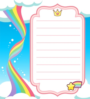 Rainbow spiral background card with crown and comet star