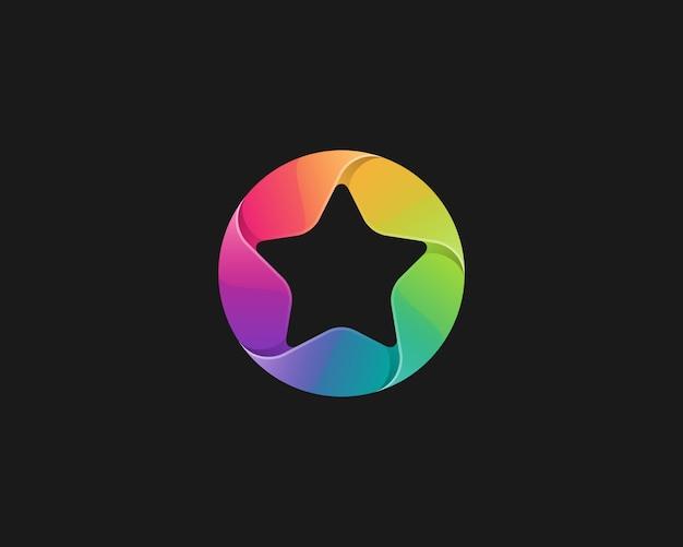 동그라미 로고가있는 무지개 별