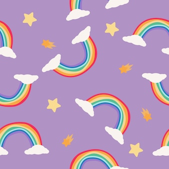 Rainbow and stars seamless pattern on purple background. scandinavian style