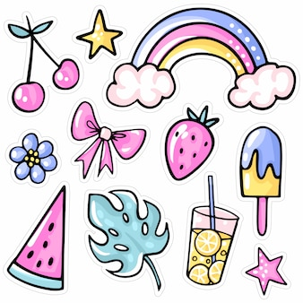 Rainbow, strawberry, cherry, ice cream, watermelon, tropical leaf, lemonade, flower.