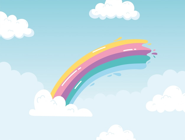 Цвет радуги с облаками небо мультфильм фон