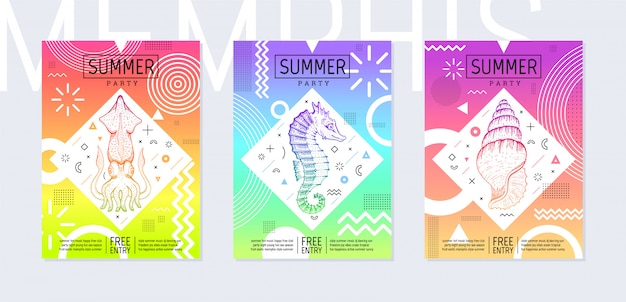 Rainbow summer flyer set in geometric 80th memphis prism style. disco light art. sea tropical fish elements on neon memphis background.