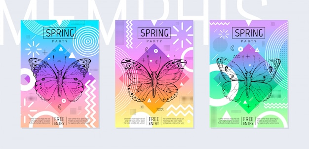 Rainbow summer party poster set in geometric style. memphis trendy festival invitation with sketch butterfly.