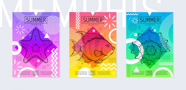Радуга летняя вечеринка плакат в геометрическом стиле. мемфис модный фестиваль приглашение с эскизом морских рыб, морских звезд и раковины.