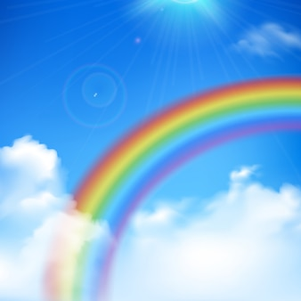 Rainbow and sun rays realistic background with clouds and blue sky
