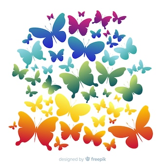 Rainbow swarm butterfly silhouettes background