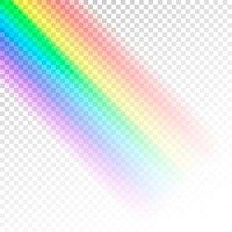 レインボーテンプレート。透明な背景に分離された光の抽象的なカラフルなスペクトル
