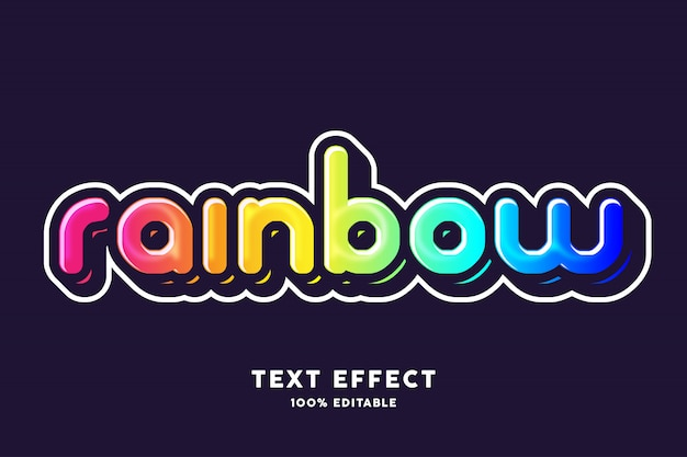 Rainbow text effect, editable text