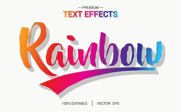 Rainbow text effect vectors, set elegant pink purple abstract rainbow text effect