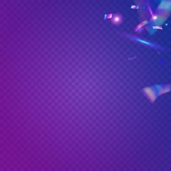 레인보우 틴슬. 홀로그램 배경입니다. 블루 메탈 글리터. 디스코 현실적인 장식. 보케 반짝임. 블러 플라이어. 피에스타 아트. 럭셔리 호일. 보라색 무지개 반짝이