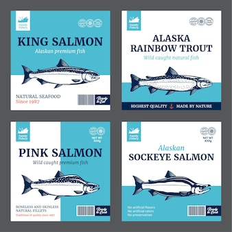 Rainbow trout sockeye chinook and pink salmon labels