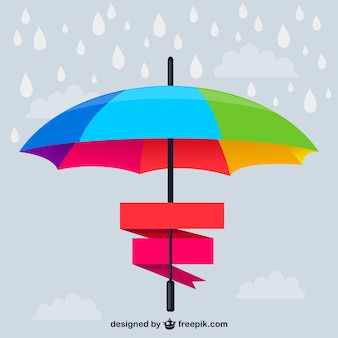 Rainbow umbrella with ribbons
