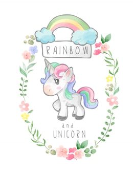 Rainbow and unicorn in floral wreath frame illustration