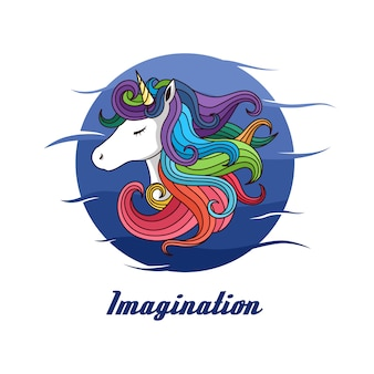 Rainbow unicorn hair with circle background vector graphic