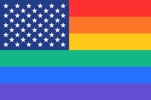 Rainbow united states of america flag