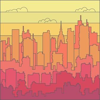 雲と空の虹の都市景観。背景のベクトル図