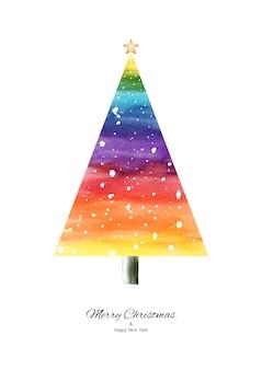 白い背景で隔離の手描きの雪が降る虹の水彩画のクリスマスツリー。