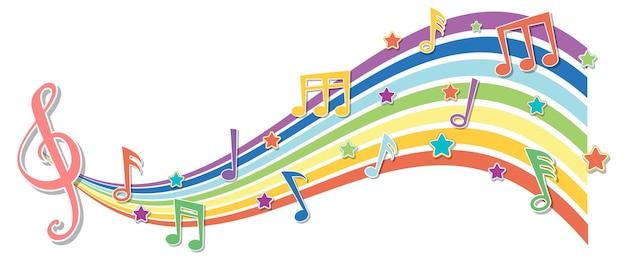 Волна радуги с символами мелодии
