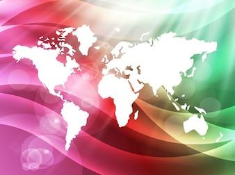 Rainbow waves world map vector
