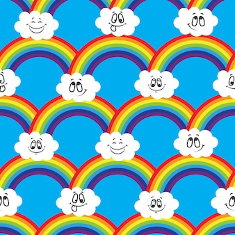 Rainbow, white clouds of emoticons