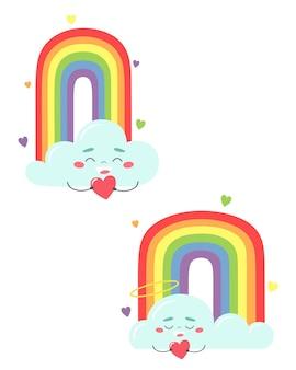 陽気な雲と虹。