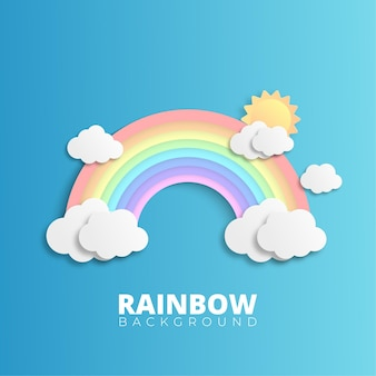 Rainbow with clouds on blue background