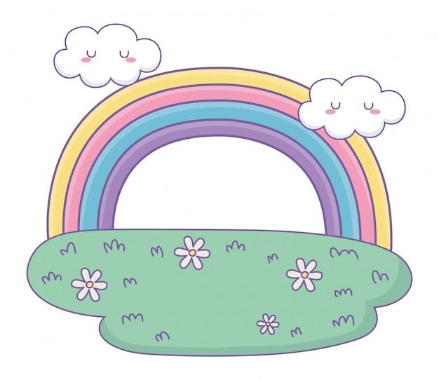 Rainbow with clouds cartoon