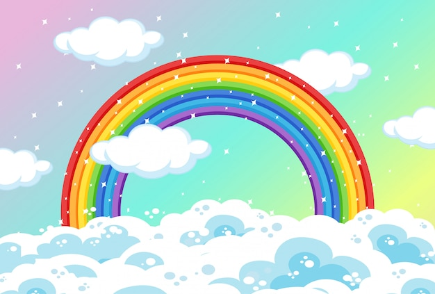 Rainbow with clouds and glitter on pastel sky background