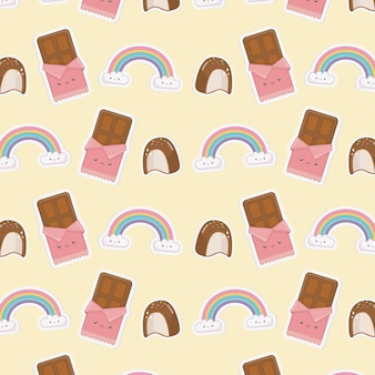 雲かわいい文字とチョコレートバーパターンと虹