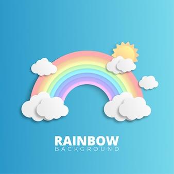 青い背景に雲と虹
